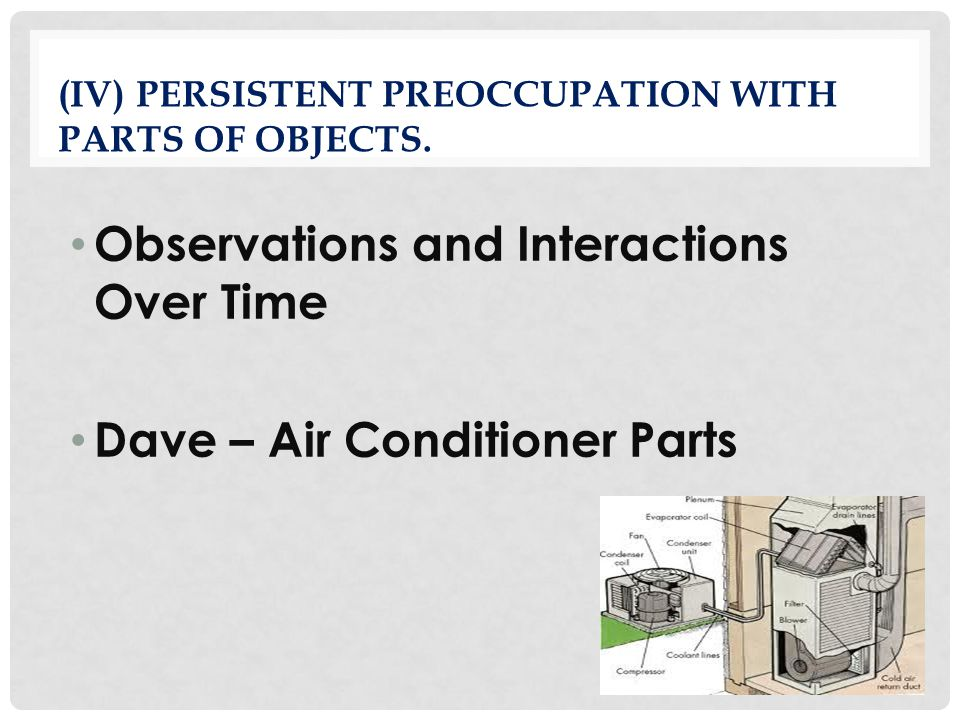 (iv) Persistent preoccupation with parts of objects.