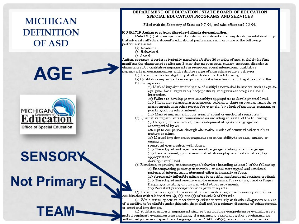 Michigan Definition of ASD