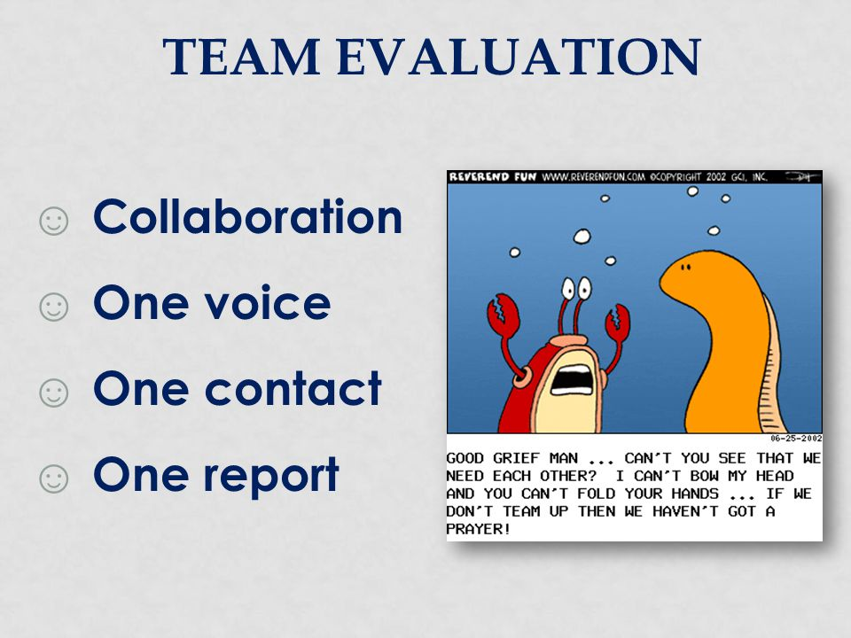TEAM evaluation Collaboration One voice One contact One report