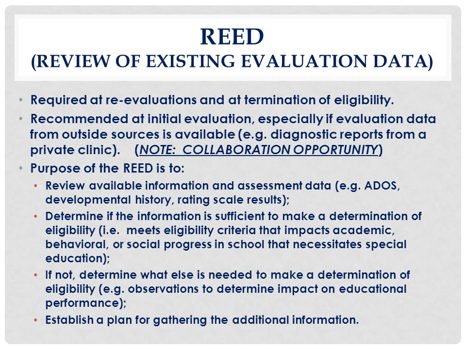 REED (Review of Existing Evaluation Data)