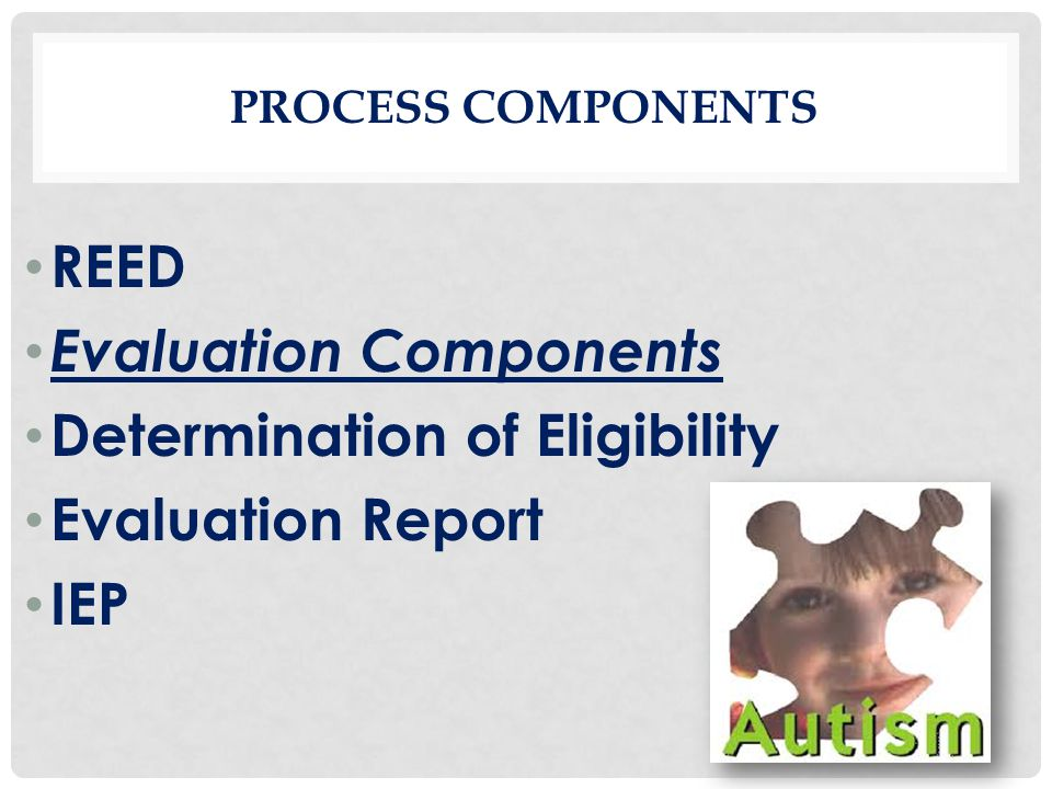 Evaluation Components Determination of Eligibility Evaluation Report