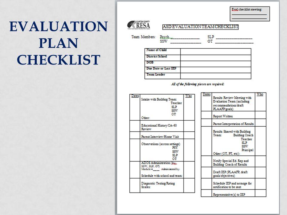 Evaluation Plan Checklist