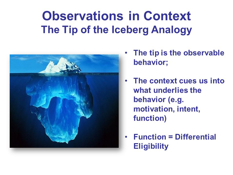 Observations in Context The Tip of the Iceberg Analogy