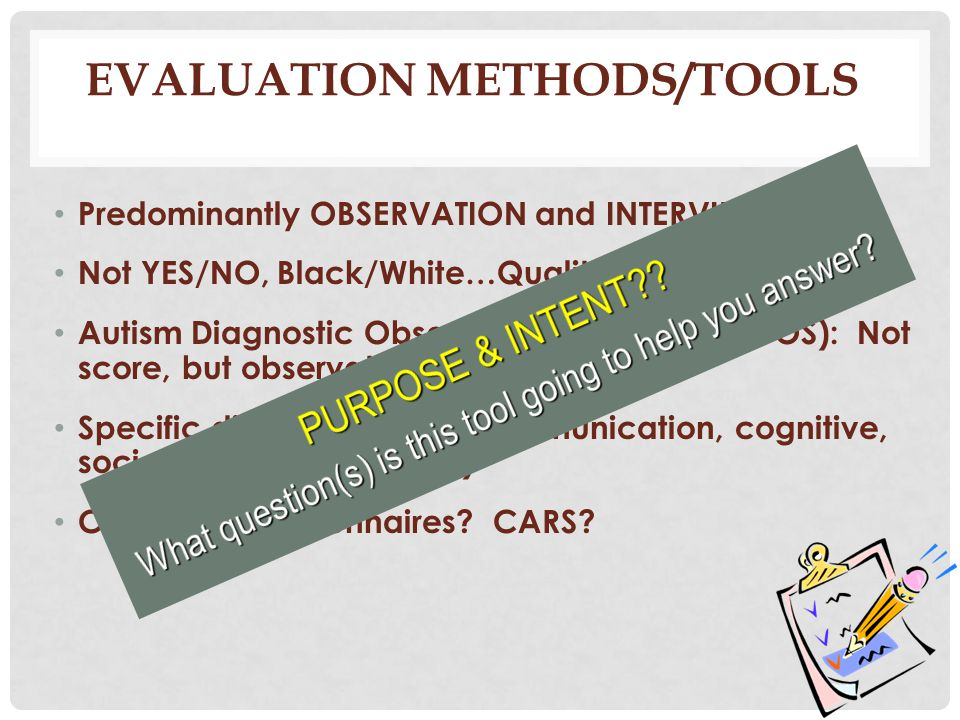 Evaluation Methods/Tools