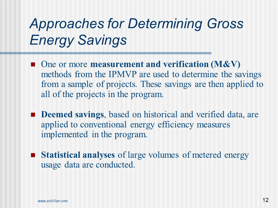 Approaches for Determining Gross Energy Savings