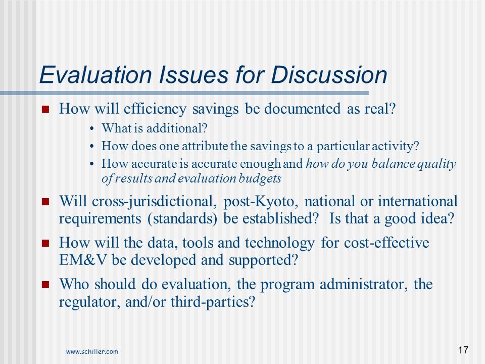 Evaluation Issues for Discussion