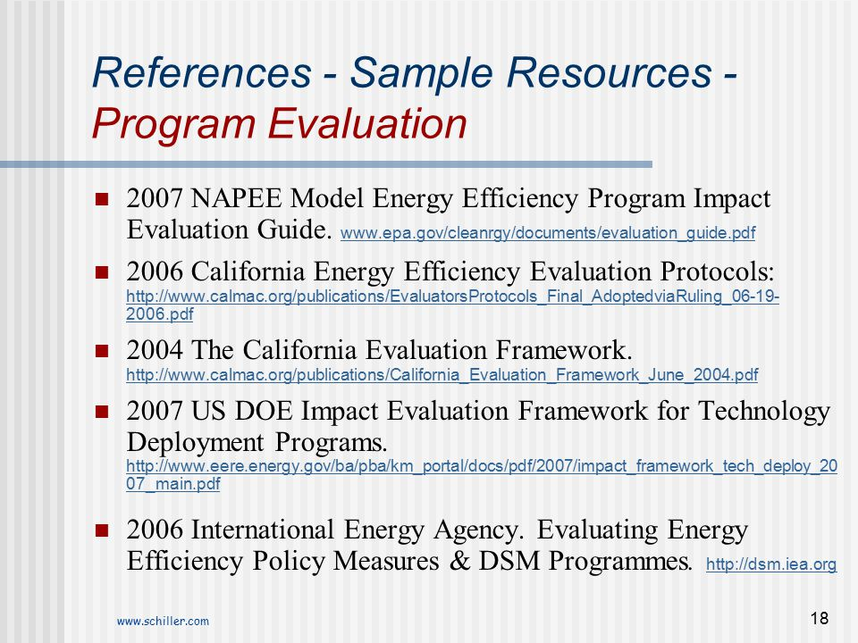 References - Sample Resources - Program Evaluation