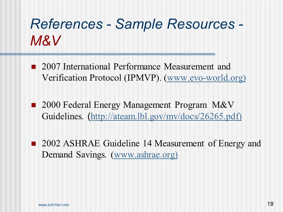 References - Sample Resources - M&V