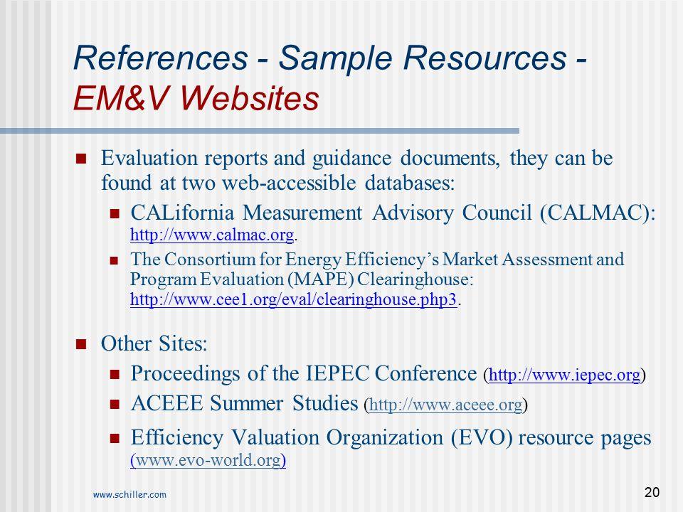 References - Sample Resources - EM&V Websites