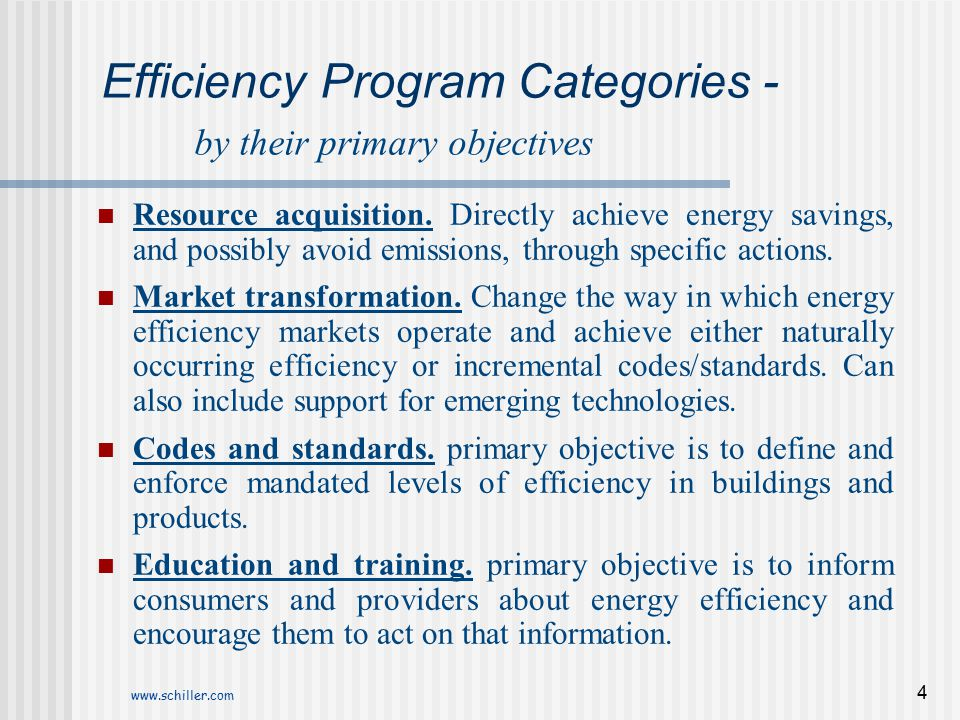 Efficiency Program Categories - by their primary objectives