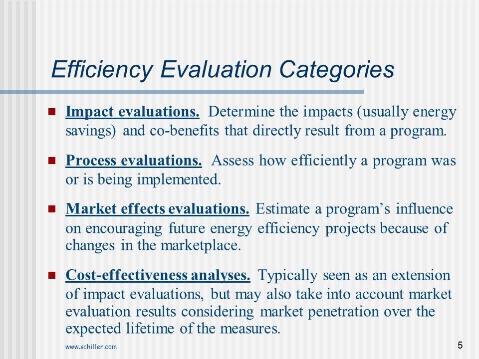 Efficiency Evaluation Categories