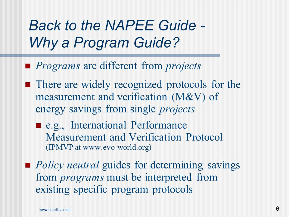 Back to the NAPEE Guide - Why a Program Guide