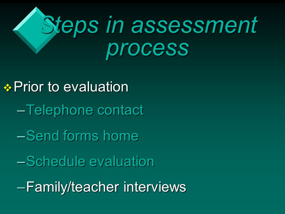 Steps in assessment process