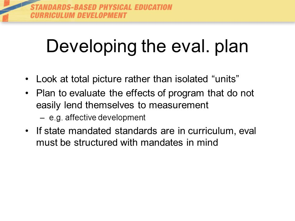 Developing the eval. plan