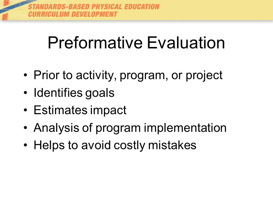 Preformative Evaluation