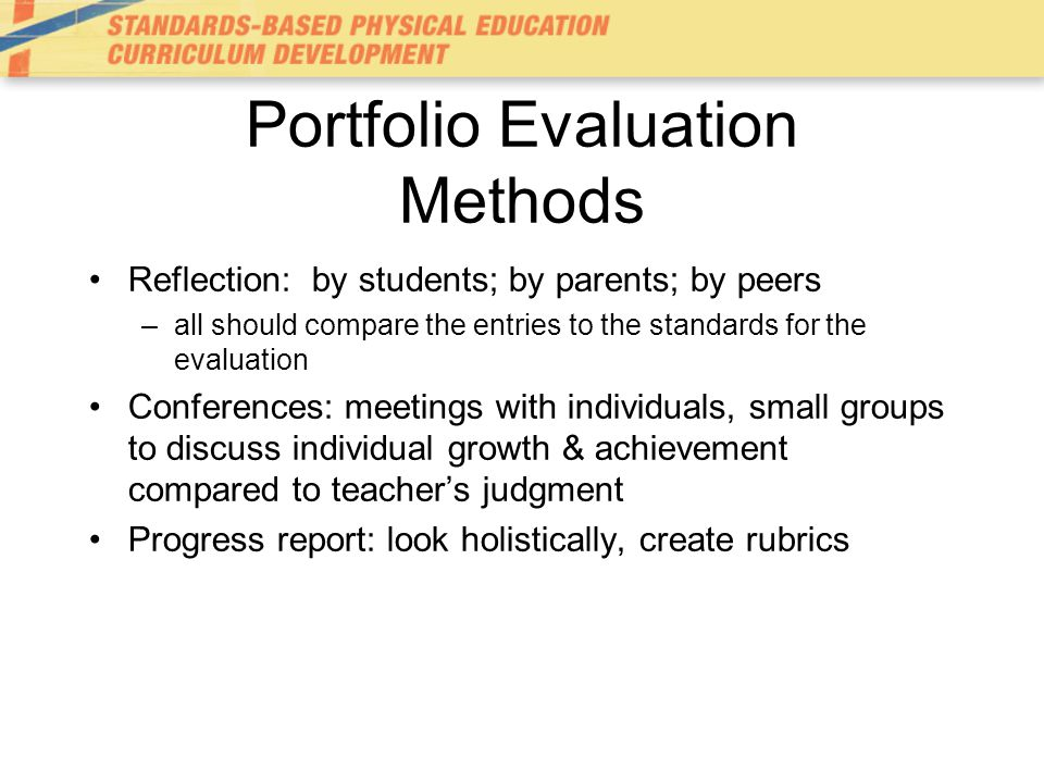 Portfolio Evaluation Methods