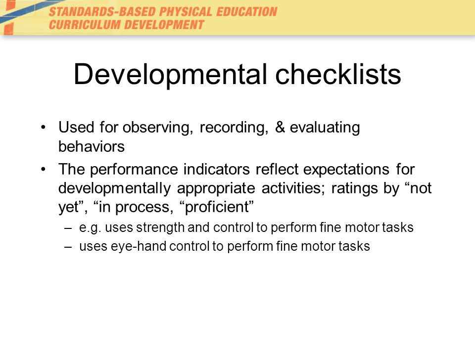 Developmental checklists