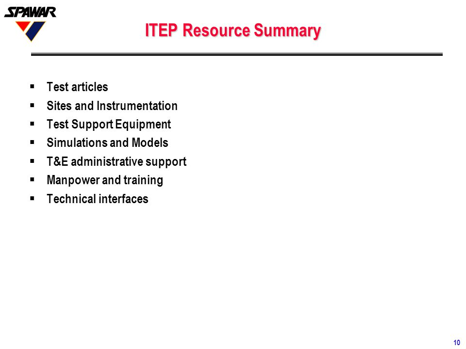 ITEP Resource Summary Test articles Sites and Instrumentation