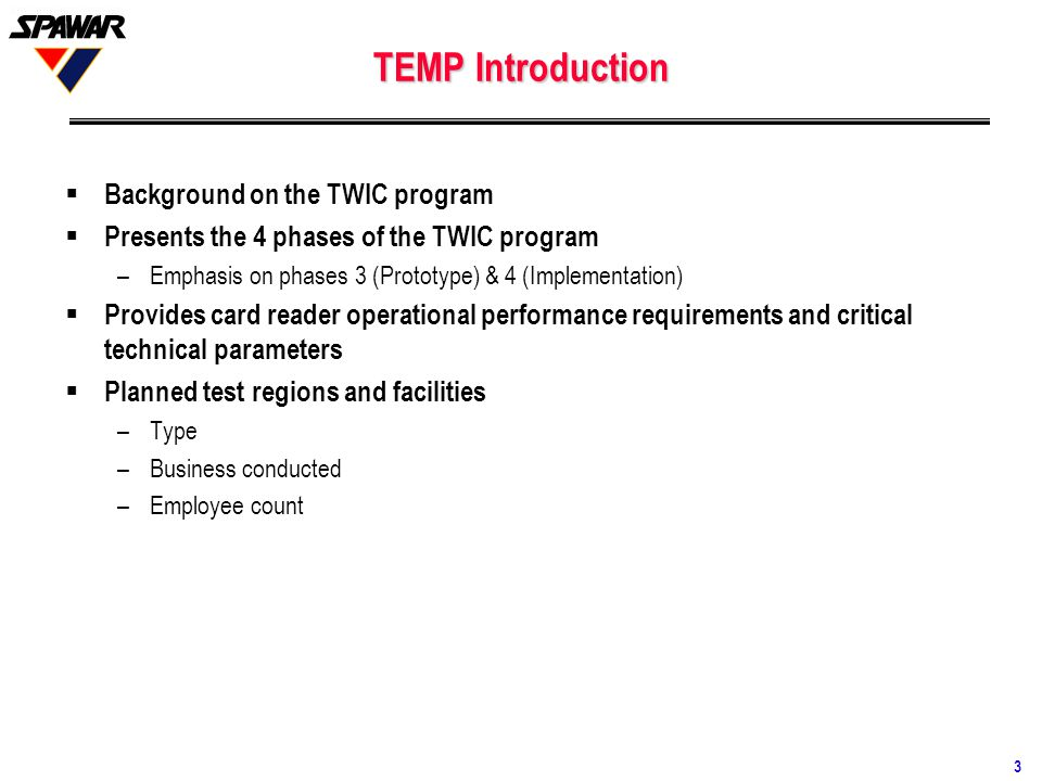 TEMP Introduction Background on the TWIC program