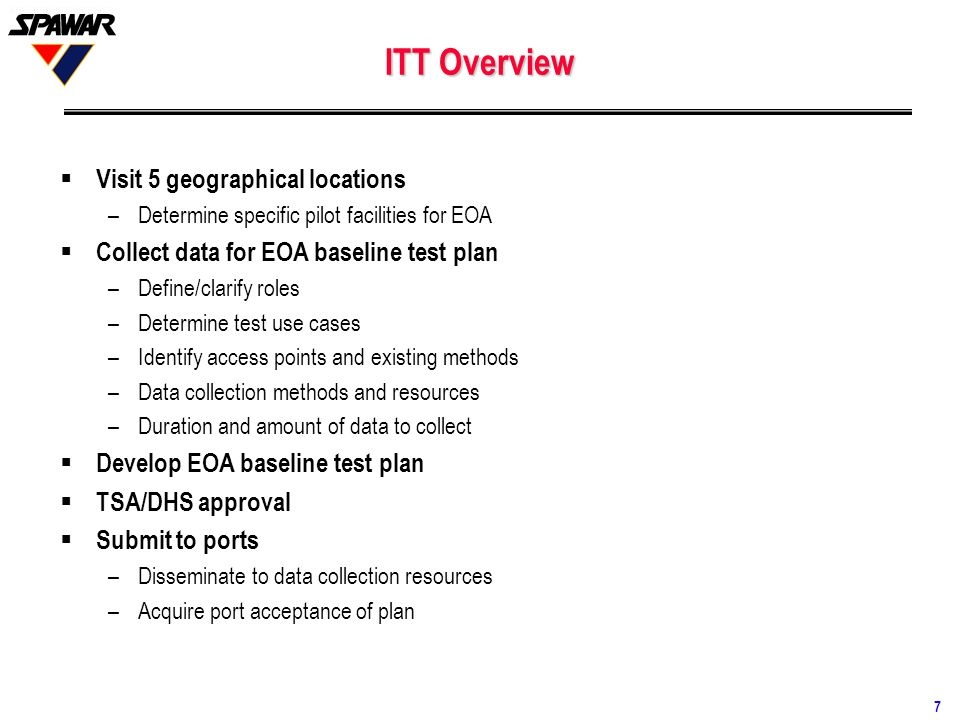 ITT Overview Visit 5 geographical locations