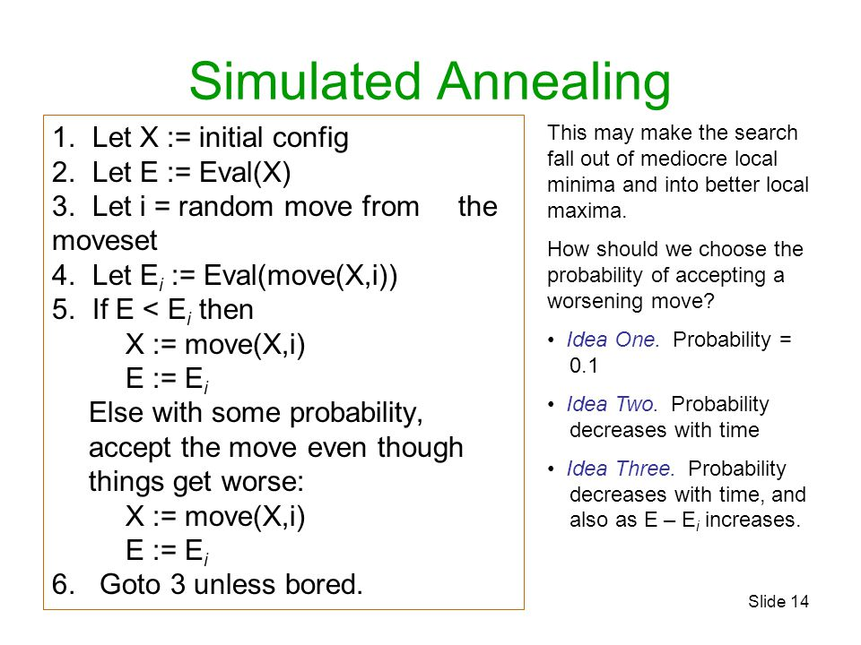 Simulated Annealing Let X := initial config Let E := Eval(X)
