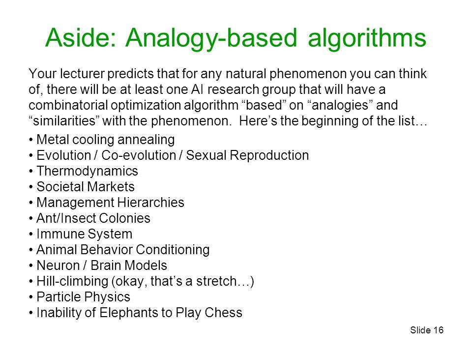 Aside: Analogy-based algorithms