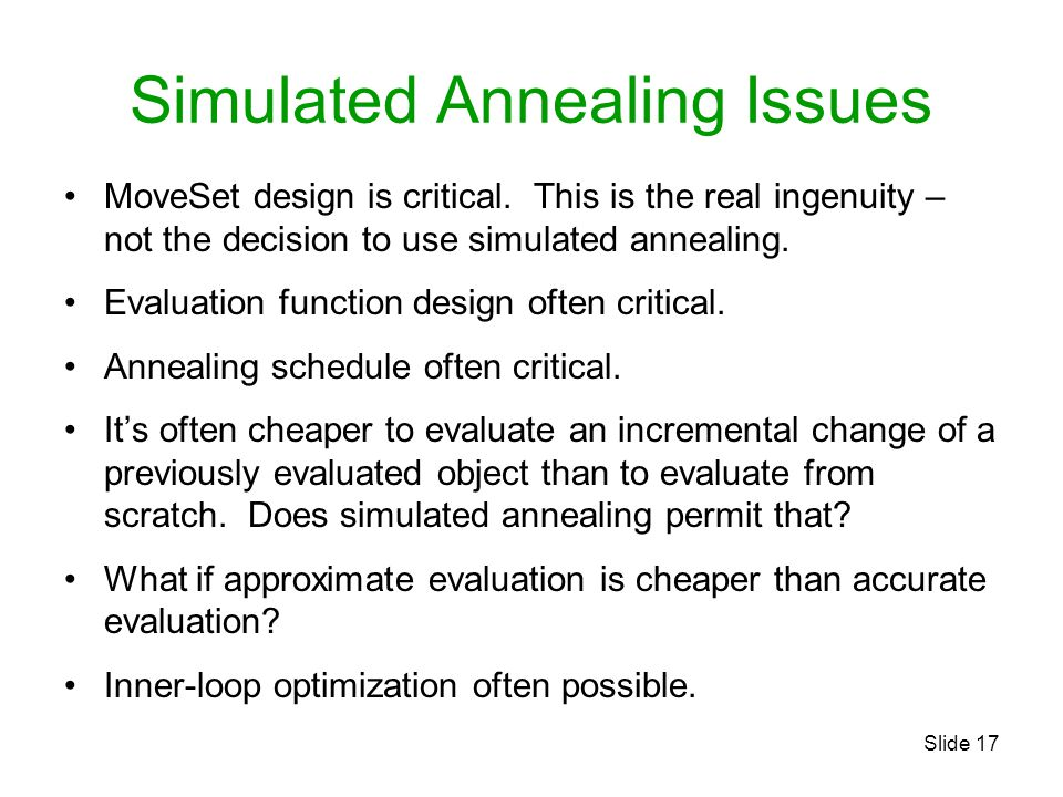 Simulated Annealing Issues