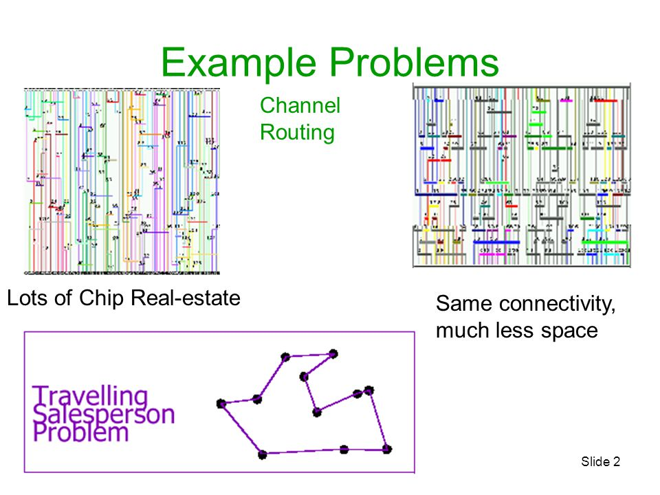 Example Problems Channel Routing Lots of Chip Real-estate