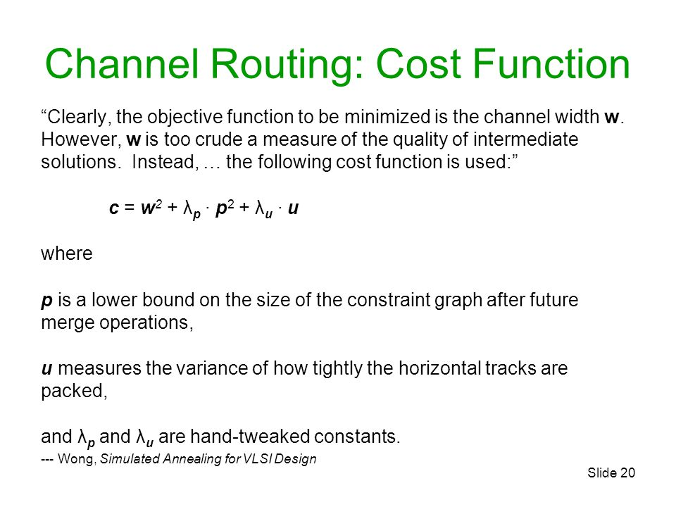 Channel Routing: Cost Function