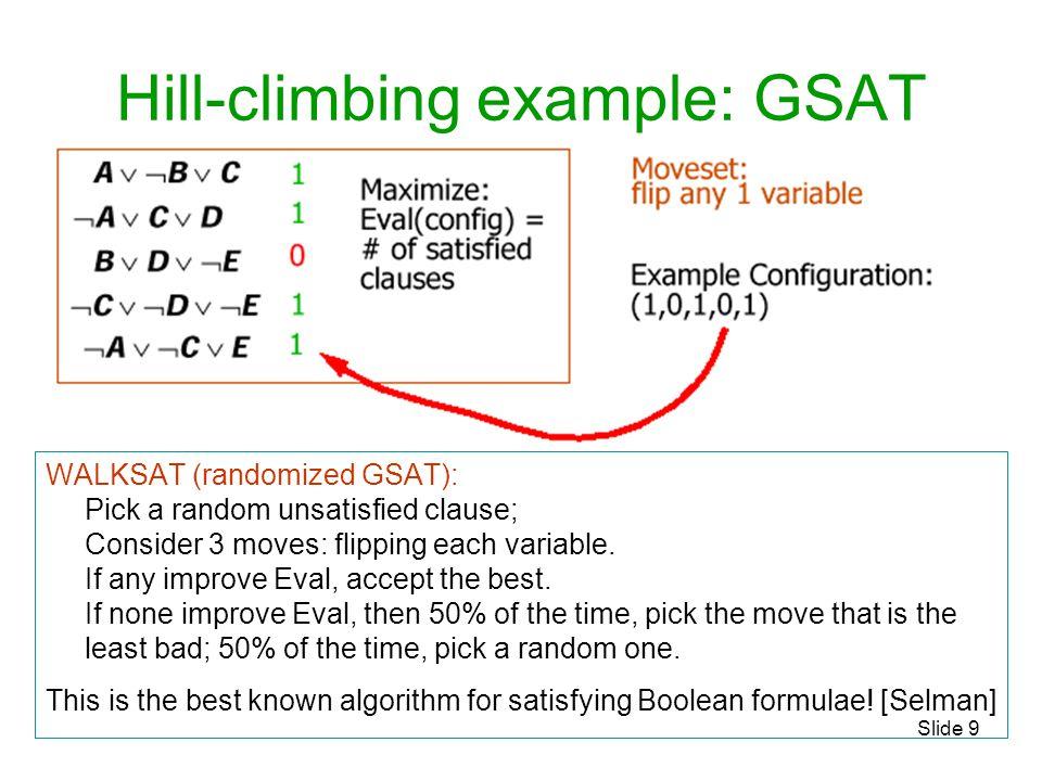 Hill-climbing example: GSAT