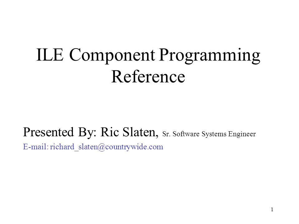 ILE Component Programming Reference