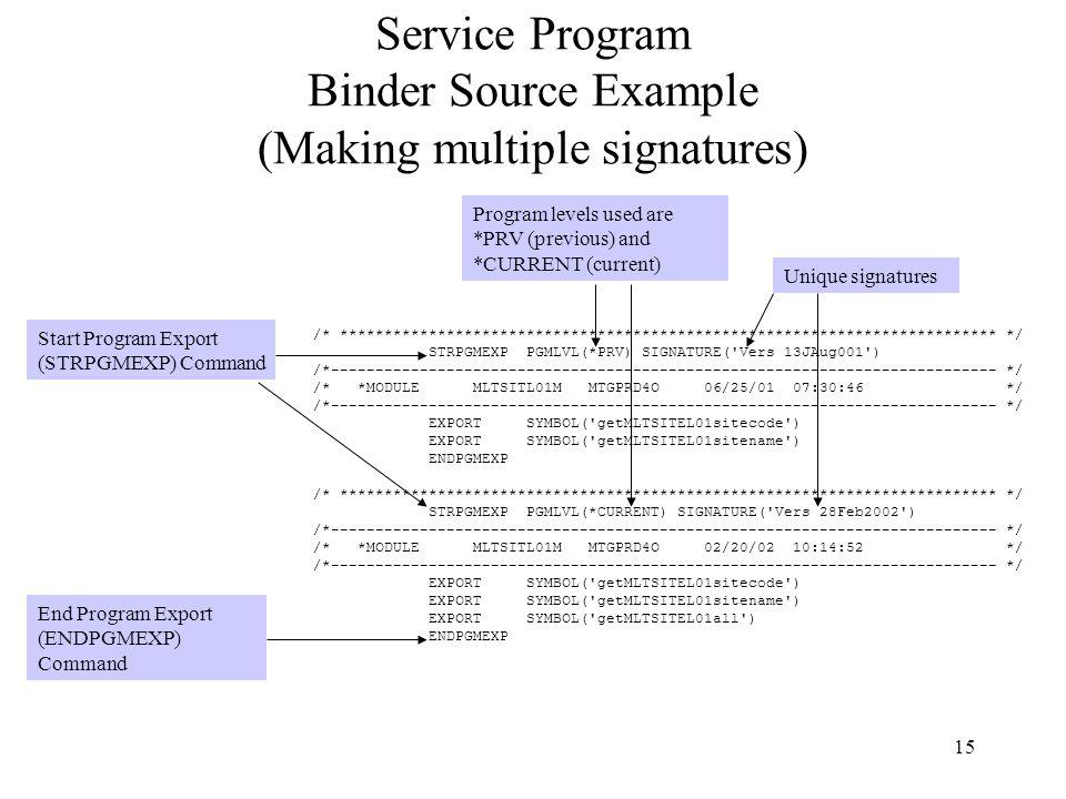 Service Program Binder Source Example (Making multiple signatures)