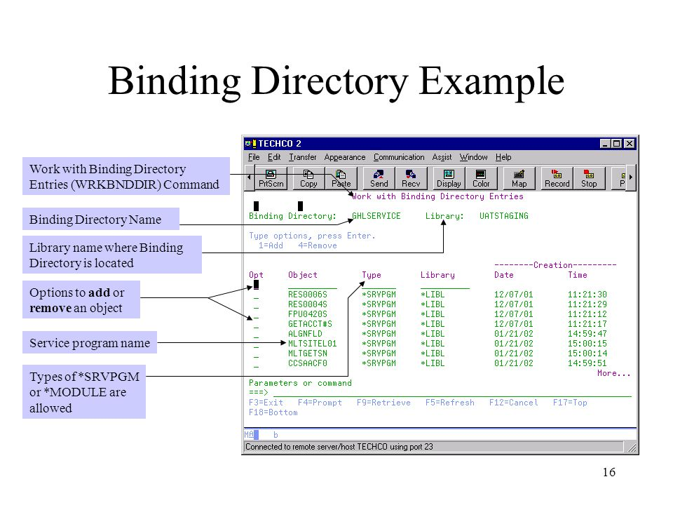 Binding Directory Example