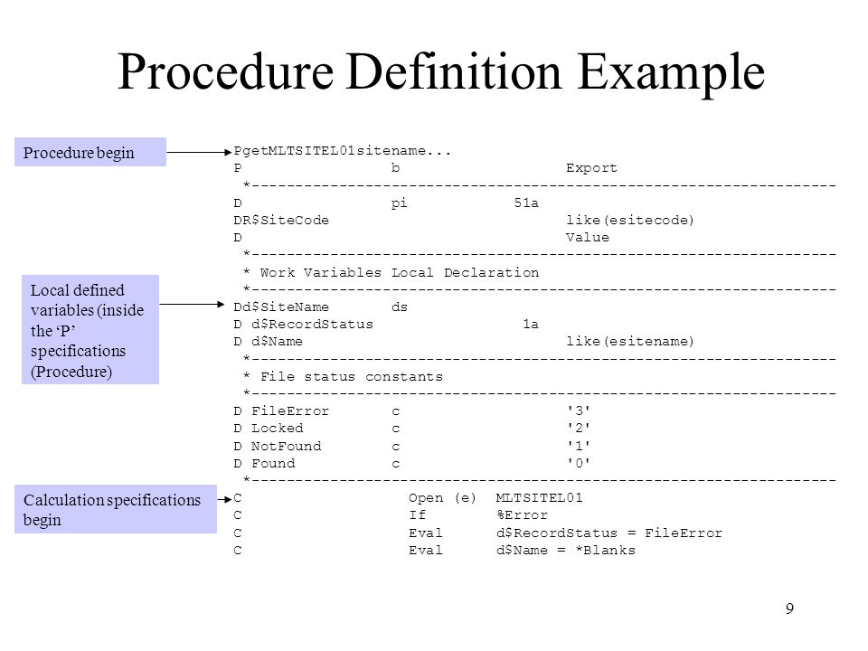 Procedure Definition Example