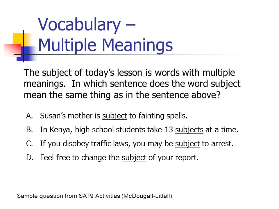 Vocabulary – Multiple Meanings
