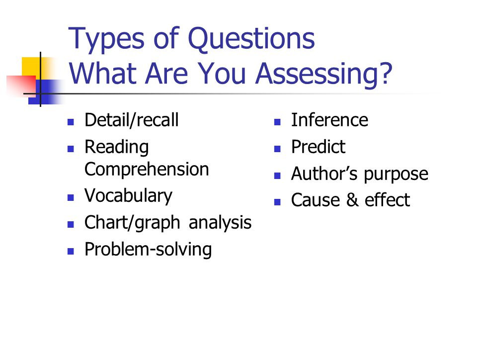 Types of Questions What Are You Assessing