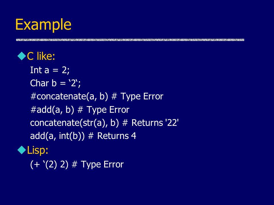 Example C like: Lisp: Int a = 2; Char b = '2';