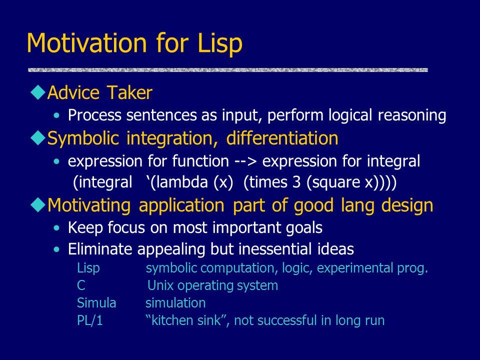Motivation for Lisp Advice Taker Symbolic integration, differentiation