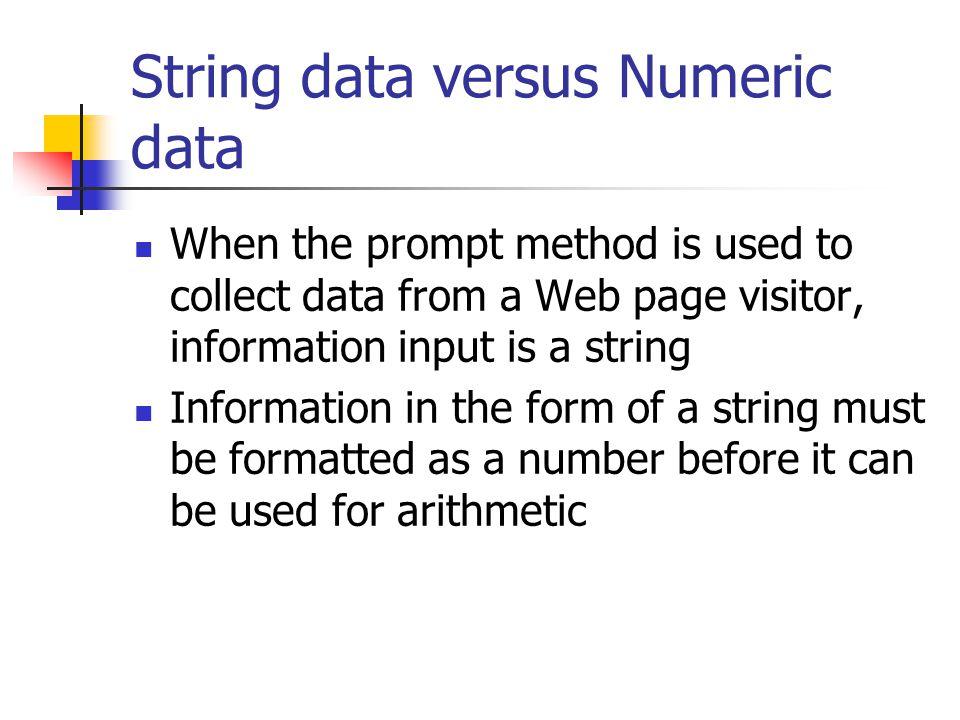 String data versus Numeric data
