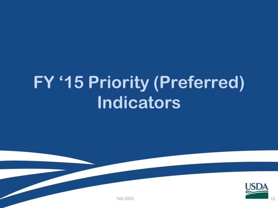FY '15 Priority (Preferred) Indicators