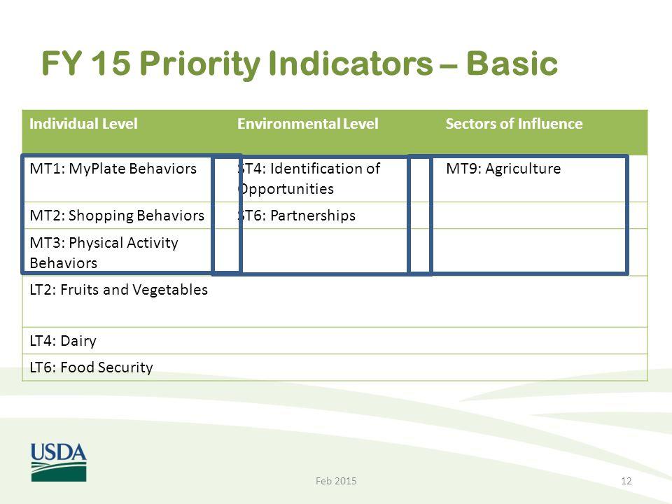 FY 15 Priority Indicators – Basic