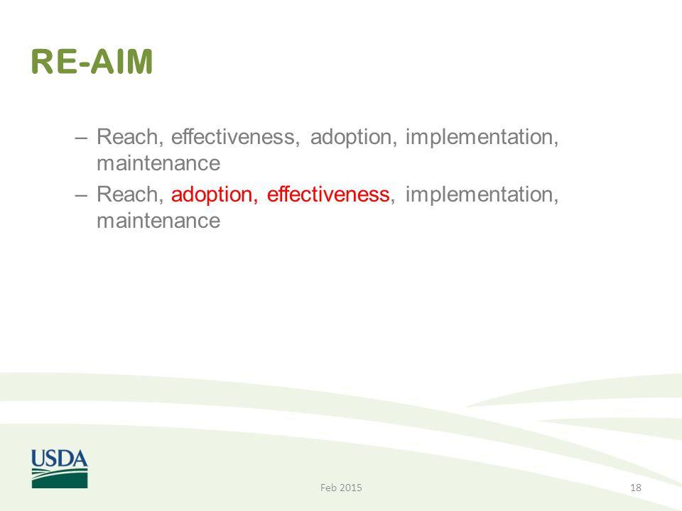 RE-AIM Reach, effectiveness, adoption, implementation, maintenance