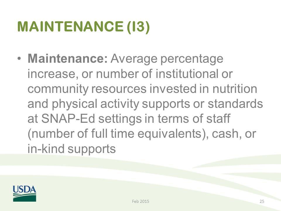 MAINTENANCE (I3)