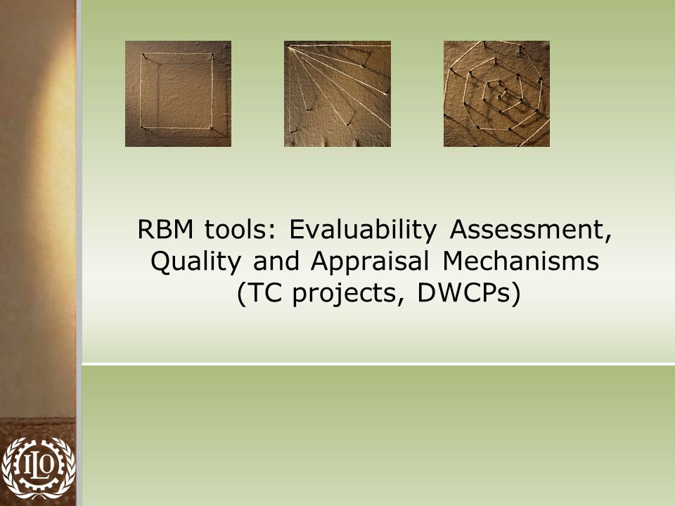 RBM tools: Evaluability Assessment, Quality and Appraisal Mechanisms (TC projects, DWCPs)
