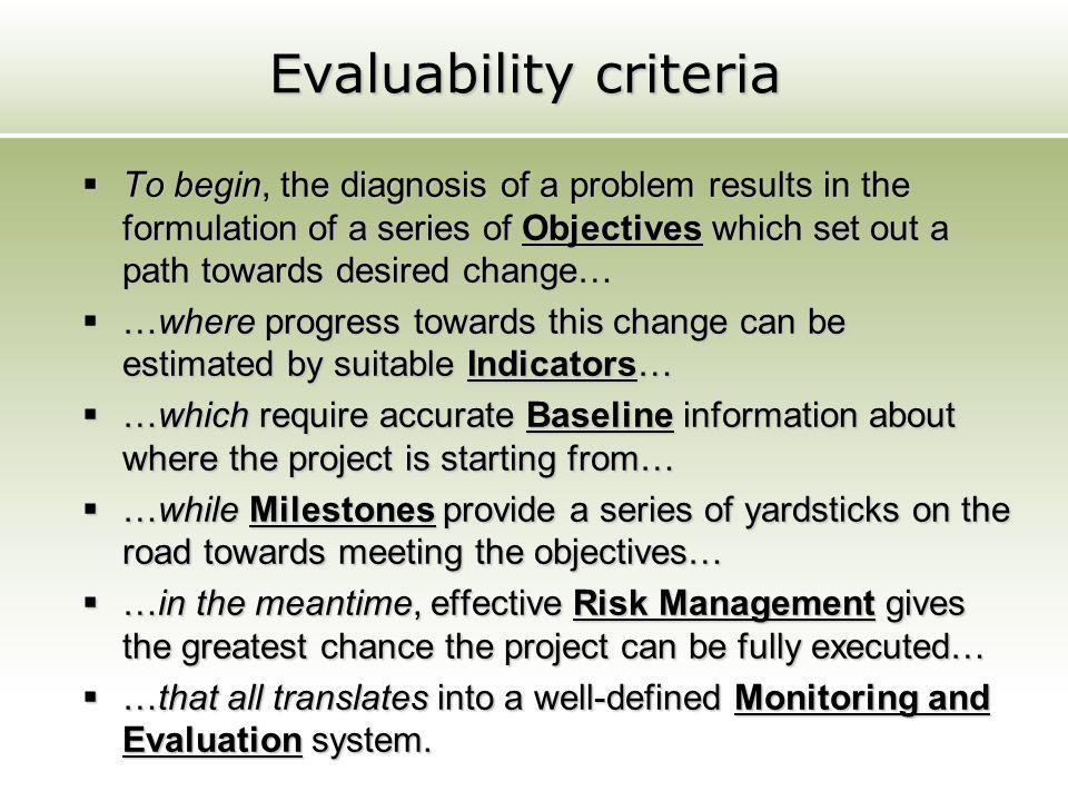 Evaluability criteria