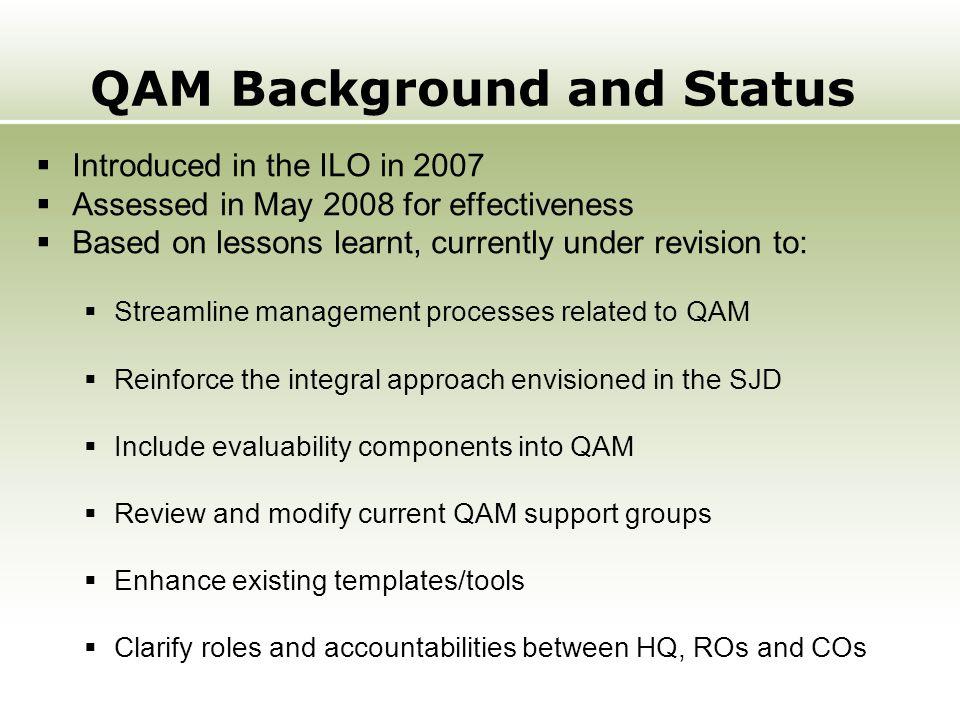 QAM Background and Status