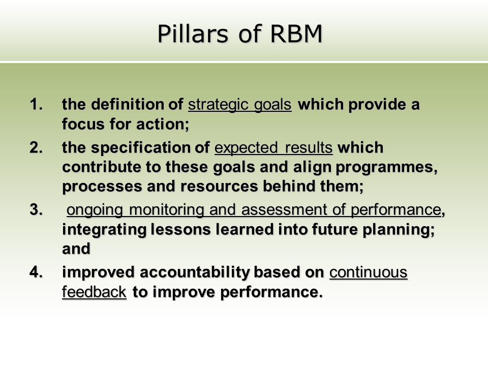 Pillars of RBM the definition of strategic goals which provide a focus for action;