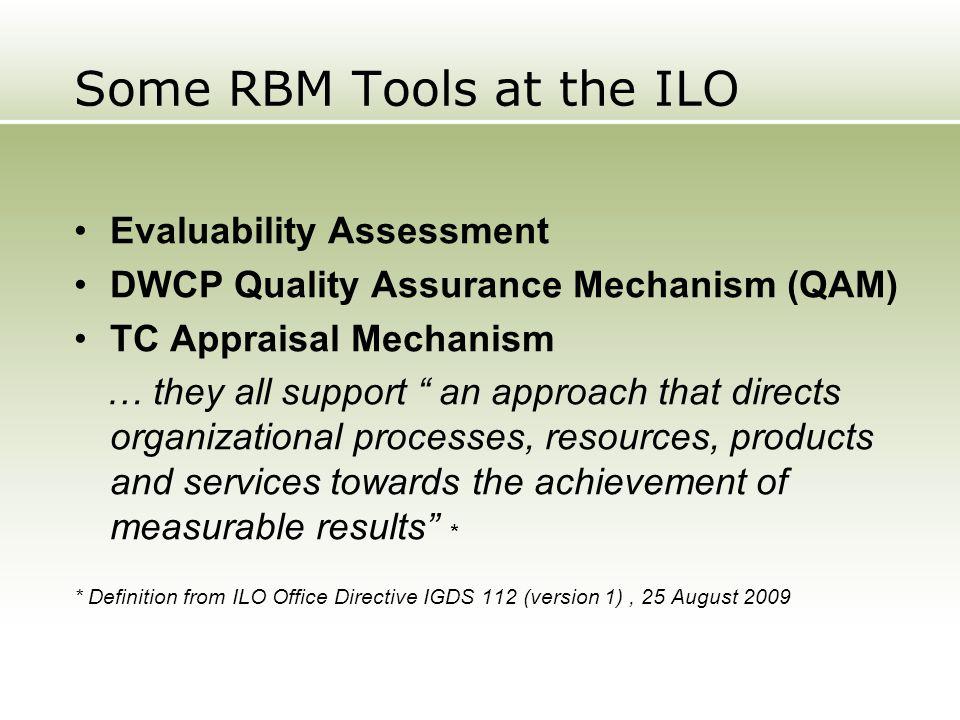Some RBM Tools at the ILO