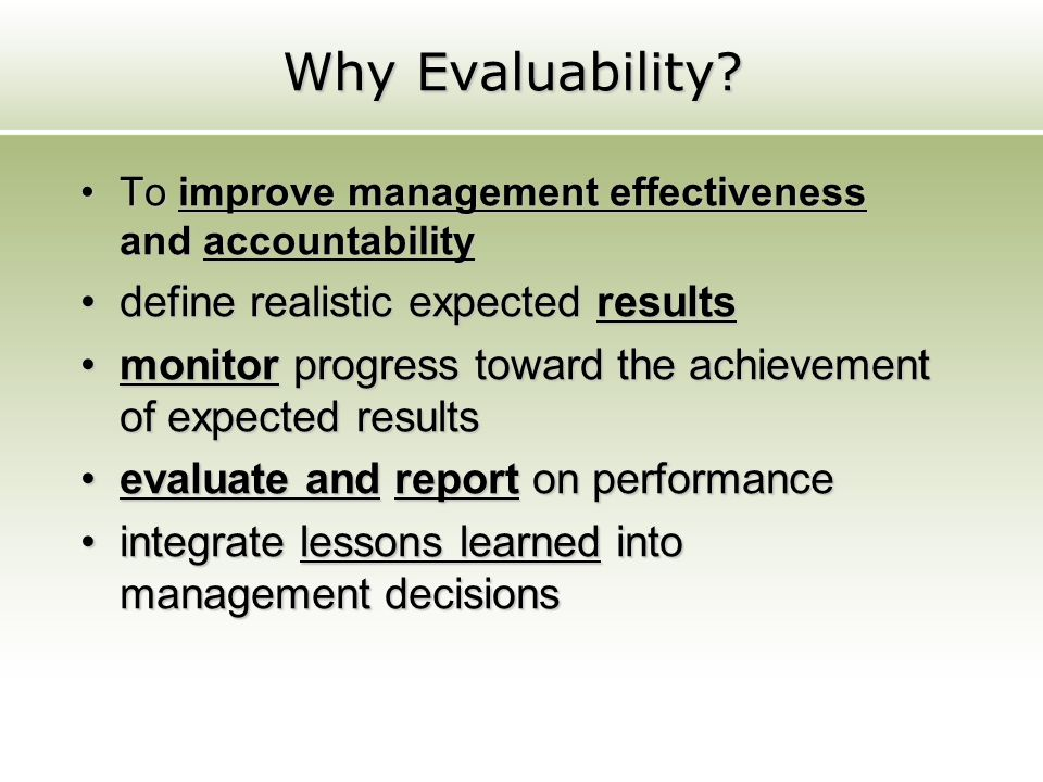 Why Evaluability define realistic expected results