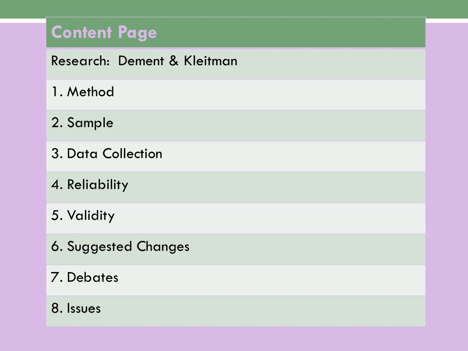 Content Page Research: Dement & Kleitman 1. Method 2. Sample
